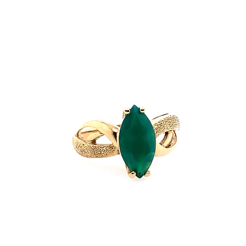 Estate 10kt Yellow Gold Imitation Marquise Emerald Ring
