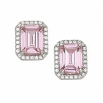 Sterling Silver Pink Cubic Zirconia Rectangle Earrings