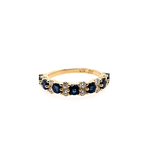 14kt Yellow Gold Sapphire And Diamond Band