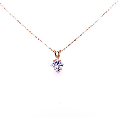 14kt Yellow Gold Princess Cut Diamond Pendant