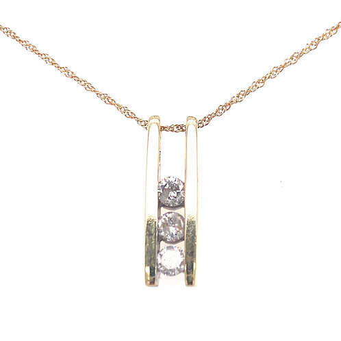 Estate 10kt White Gold Diamond Bar Pendant