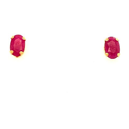 14kt Yellow Gold Oval Ruby Earrings
