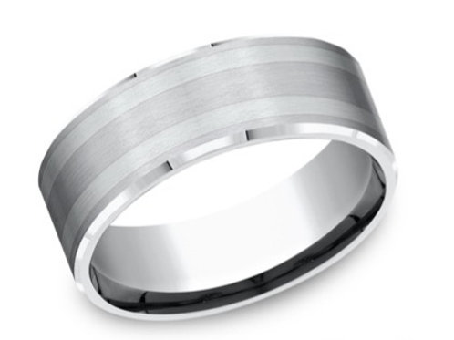 Cobalt Chrome with Silver Inlay Men's Wedding Band