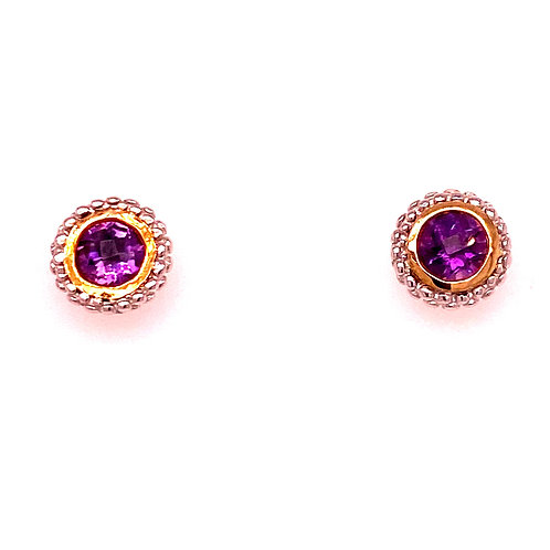 Sterling Silver/18kt Gold Phillip Gavriel Amethyst Earrings