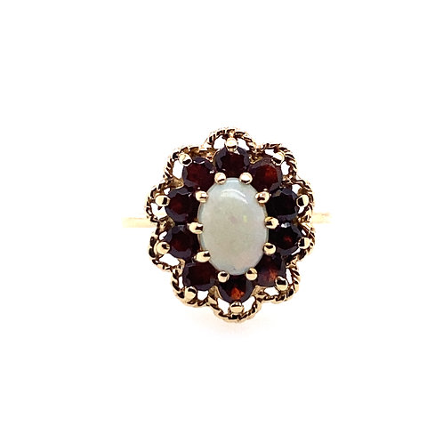 Estate 10kt Yellow Gold Opal And Garnet Ring