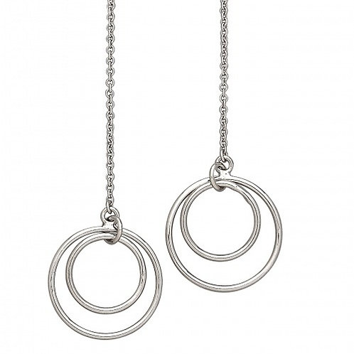 Sterling Silver Double Circle Long Dangle Earrings
