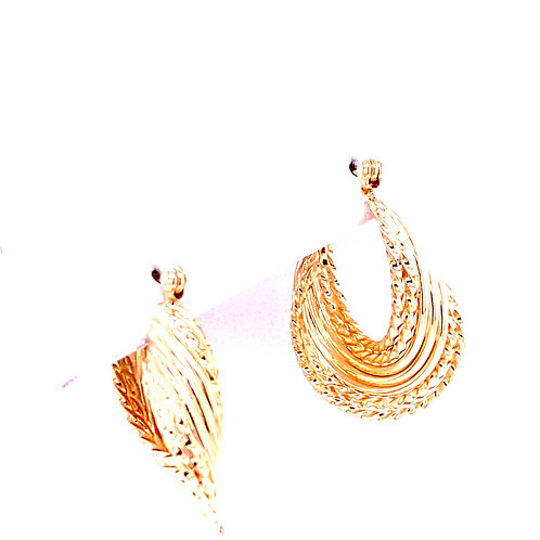 Estate 14kt Yellow Gold Twisty Hoop Earrings