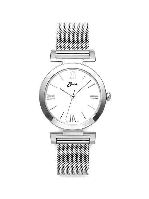 """White Belair """"Fliegauf"""" Mesh Style Watch"""