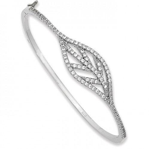 Sterling Silver Cubic Zirconia Leaf Design Bangle bracelet