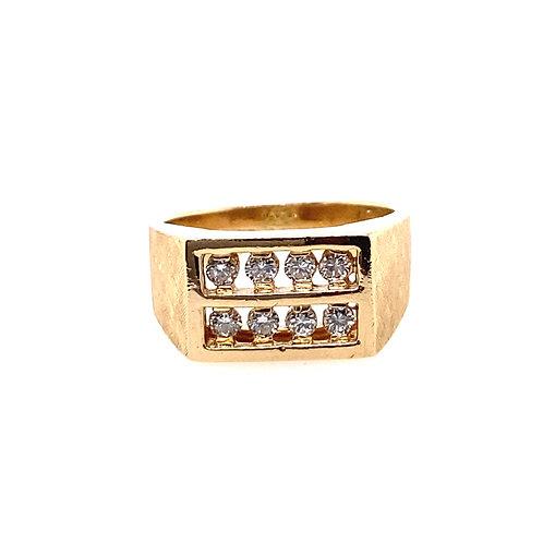 Estate 14kt Yellow Gold 2 Row Diamonds Gents Ring