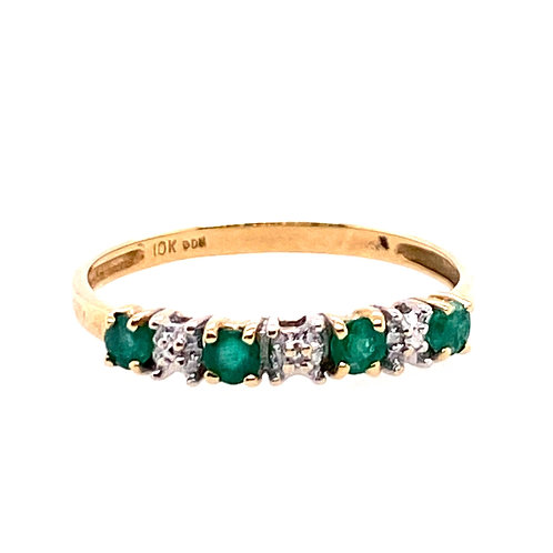 Estate 10kt Yellow Gold Emerald And Clear Stones Band