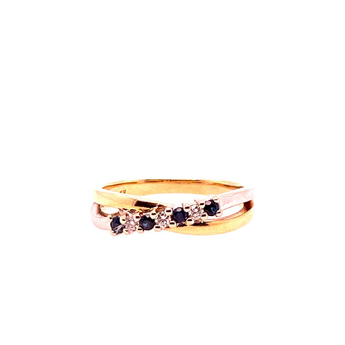 Estate 14kt Yellow Gold Sapphire And Diamond Ring