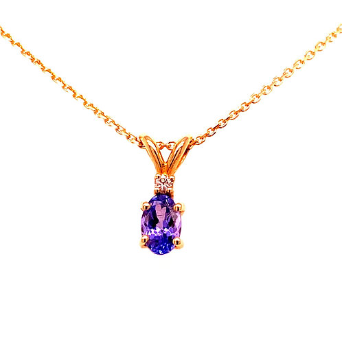 14kt Yellow Gold Tanzanite And Diamond Pendant