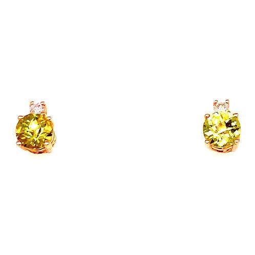 14kt Yellow Gold Peridot And Diamond Earrings