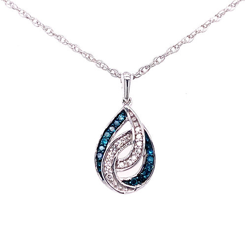 Sterling Silver Blue And Clear Diamond Fancy Pendant