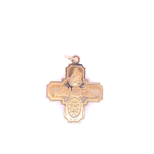 Estate 14kt Yellow Gold Four Way Religious Medal