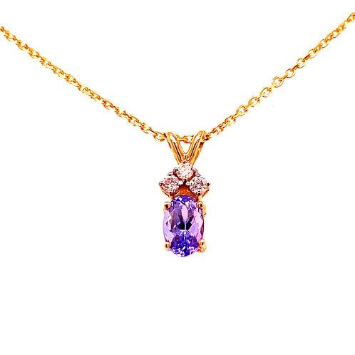 14kt Yellow Gold Tanzanite And Diamond Pendant