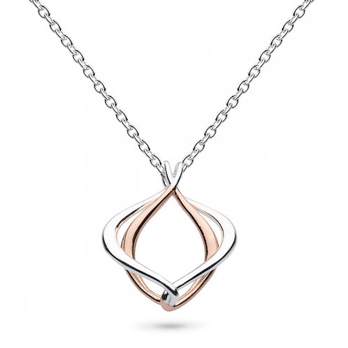 Sterling Silver Entwine Alicia Rose Gold Plate Small Necklace
