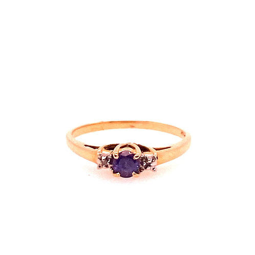 Estate 14kt Yellow Gold Tanzanite And Diamond Ring