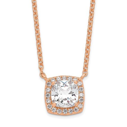 Sterling Silver Rose Plated Cubic Zirconia Princess Halo Pendant