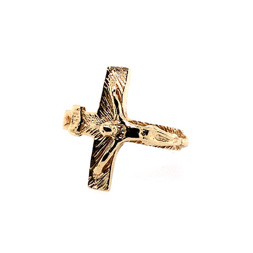 Estate 14kt Yellow Gold Heavy Crucifix Ring
