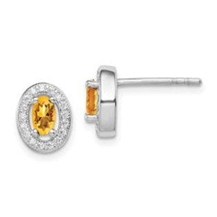 Sterling Silver Yellow Cubic Zirconia Oval Halo Earrings