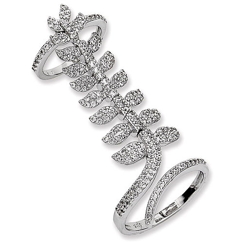 Sterling Silver Cubic Zirconia Leaf Design Double Ring