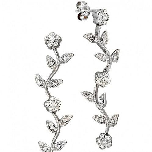 Sterling Silver Cubic Zirconia Vine Design Dangle Earrings