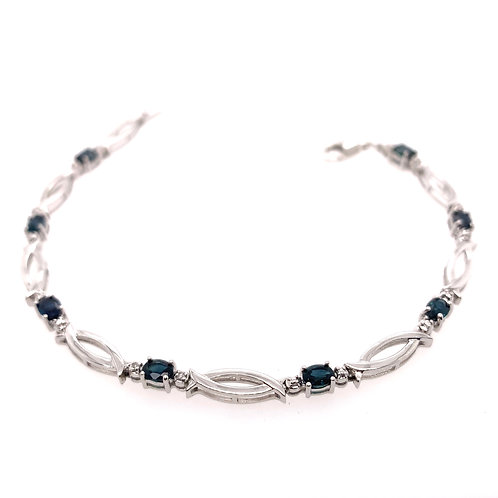 Sterling Silver Blue Sapphire and Diamond Bracelet