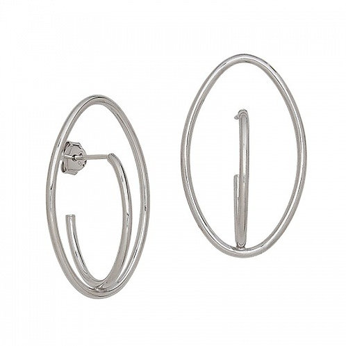 Sterling Silver Double Oval Inside Out Earrings