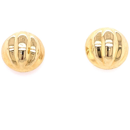 Estate 14kt Yellow Gold Round Scalloped Earrings