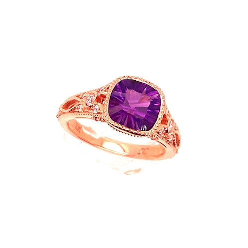 14kt Yellow Gold Amethyst And Diamond Ring