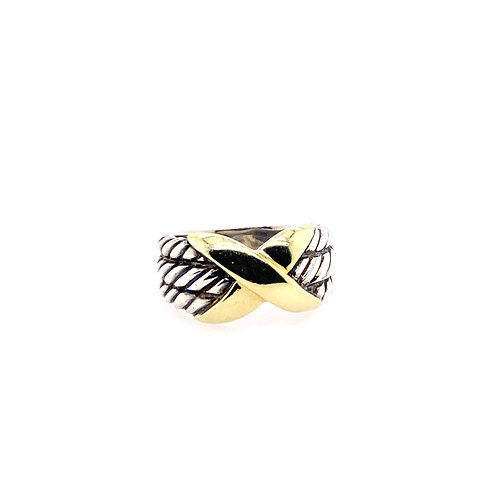 Estate 14kt Yellow Gold And Sterling Silver David Yurman X Ring