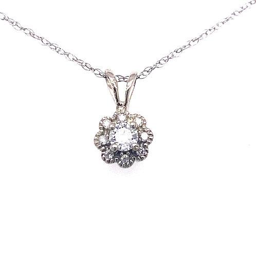 Estate 14kt White Gold Diamond Cluster Small Pendant