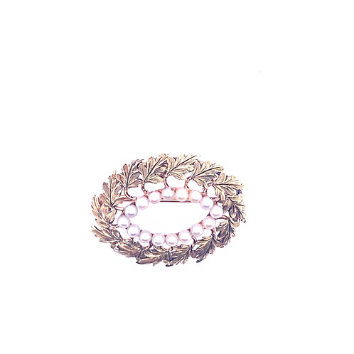 Estate 14kt Yellow Gold Oval Fancy Brooch With Pearls