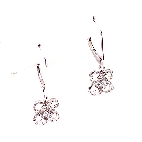 Sterling Silver Diamond Dangle Knot Earrings