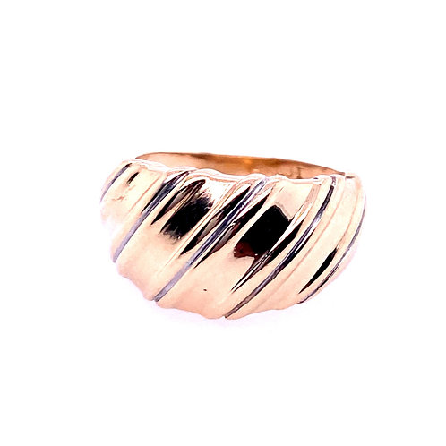 Estate 14kt Yellow Gold Wide Ribbed Dome Ring