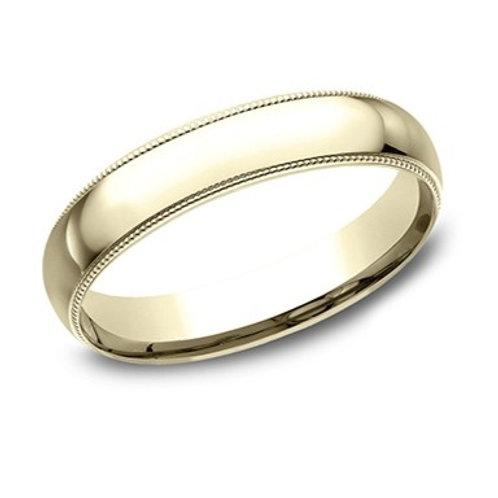 14kt Yellow Gold Men's Comfort Fit Milgrain Edge Wedding Band