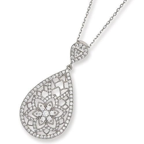 Sterling Silver Cubic Zirconia Flower Design Tear Drop Pendant