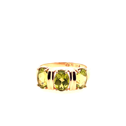 Estate 14kt Yellow Gold Peridot Band