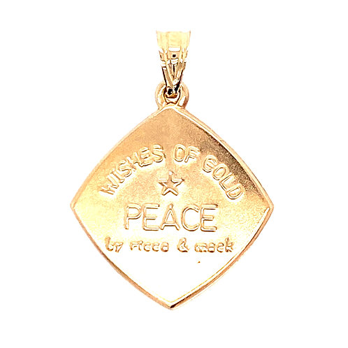 "Estate 14kt Yellow Gold Dove Charm ""Wishes Of Gold-Peace"""