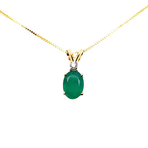 14kt Yellow Gold Emerald And Diamond Pendant