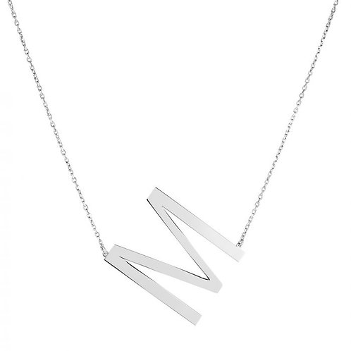 """Sterling Silver """"M"""" Large Initial Necklace"""