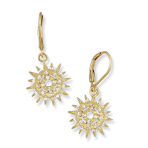 Gold Plated Sterling Silver Small Starburst Earrings
