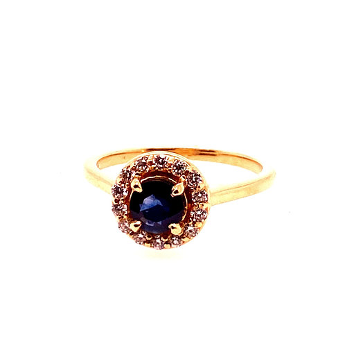 14kt Yellow Gold Sapphire And Diamond Halo Ring