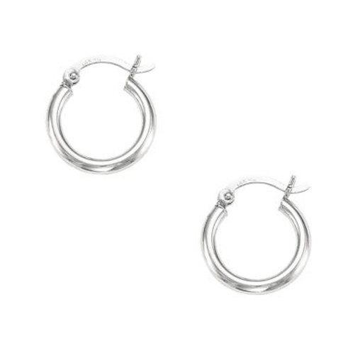 14kt White Gold Classic Hoop Earrings