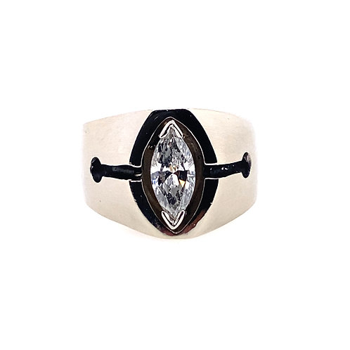 Estate 14kt White Gold Marquise Diamond Gents Ring