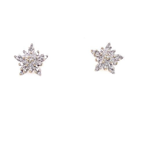 Estate 10kt Yellow Gold Diamond Cluster Snowflake Earrings