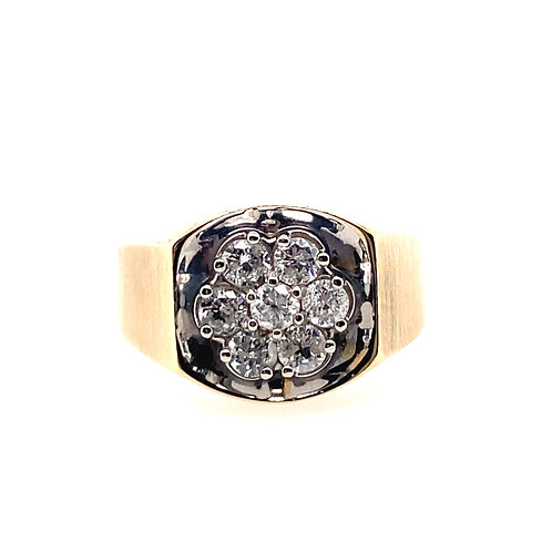 Estate 10kt Yellow Gold Diamond Cluster Gents Ring