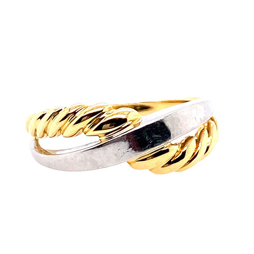 Estate 18kt Yellow Gold And Platinum Braided Twist Ring